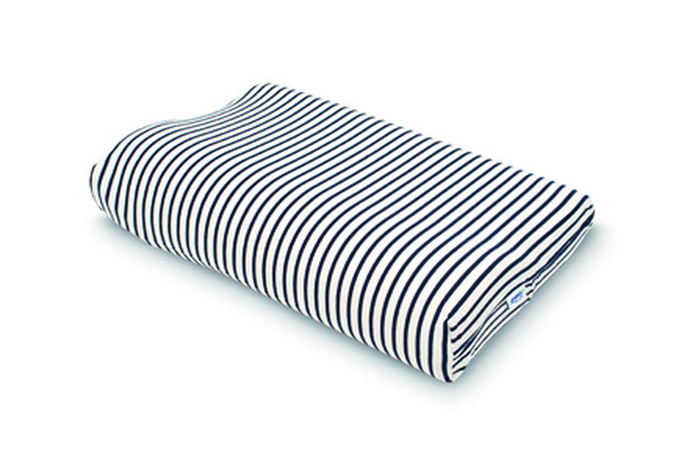 Tempur(テンピュール) スムースボーダーピローケース(コンフォートロング用) 白×紺【代引不可】