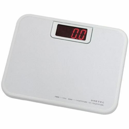 DRETEC デジタル 体重計 ボディースケール 「ビッグLED体重計」 ホワイト BS-116WT【代引不可】