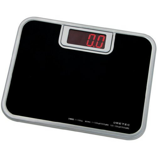 DRETEC デジタル 体重計 ボディースケール 「ビッグLED体重計」 ブラック BS-116BK【代引不可】