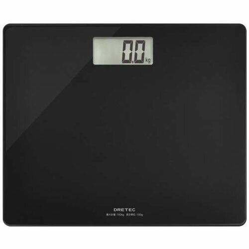 DRETEC ボディスケール グラッセ ブラック のるだけで簡単に体重がはかれる デジタル体重計 BS-159BK【代引不可】