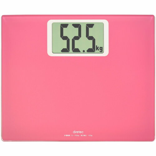 DRETEC 大きな数字で表示する大画面体重計 ボディ スケール グランデ ピンク BS-163PK【代引不可】