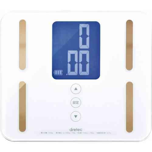 DRETEC 高級感のあるデザイン コンパクト体組成計 体重計 体重・体脂肪率・体水分率・筋肉量・基礎代謝量・推定骨量・内臓脂肪レベルの7項目を測定 BS-240WT【代引不可】