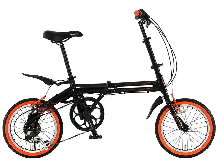 【送料無料】DOPPELGANGER(ドッペルギャンガー) 16インチ 折りたたみ自転車 7段変速 104 blackbullet II 104-DP フラッシュオレンジ【代引不可】