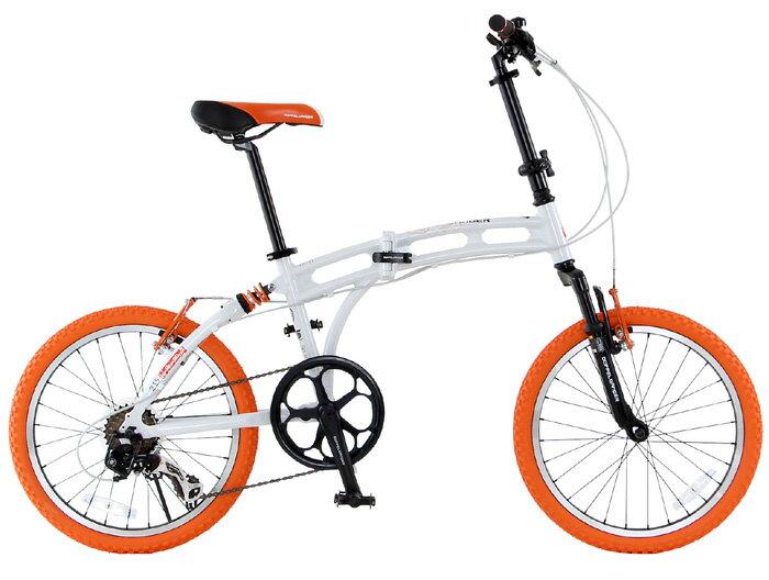 【送料無料】DOPPELGANGER(ドッペルギャンガー) 20インチ 折りたたみ自転車 7段変速 アルミフレーム215 Barbarous(バーバラス) 215-DP(ホワイト × オレンジ)【代引不可】