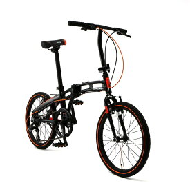 【送料無料】DOPPELGANGER(ドッペルギャンガー) Blackmax シリーズ 20インチ 折りたたみ自転車 シマノ7段変速 アルミフレーム ミニベロ ブラックxオレンジ 2018年モデル 202-S-DP【代引不可】