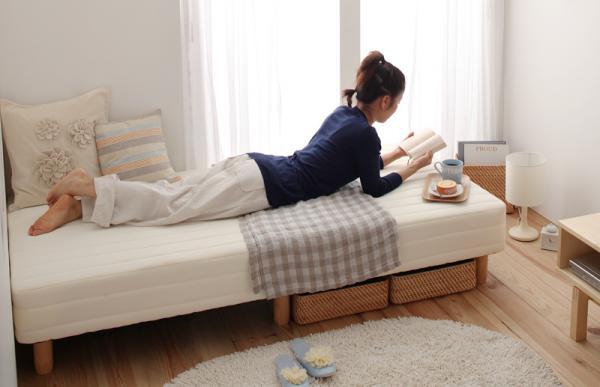 【送料無料】新・ショート丈ボンネルコイルマットレスベッド 脚30cm シングル オリーブグリーン【代引不可】
