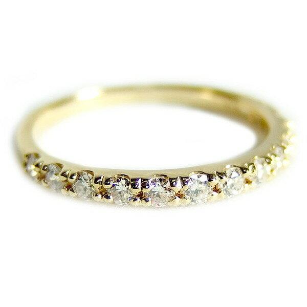【送料無料】〔鑑別書付〕K18イエローゴールド 天然ダイヤリング 指輪 ダイヤ0.30ct 9.5号 ハーフエタニティリング【代引不可】
