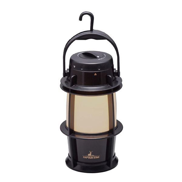 電池式LEDランタン(LEDランプ/照明器具) 無段階調光 吊り下げフック付き メタルブラック 『キャプテンスタッグ/CAPTAIN STAG』【代引不可】