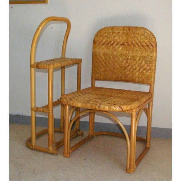 【送料無料】籐チェア&おつかまり楽々セット 立ち座り補助 膝楽 【代引不可】