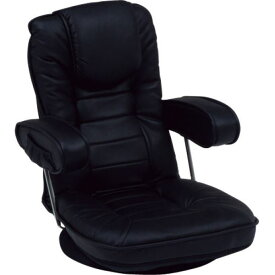 【送料無料】リクライニング回転座椅子 肘掛け 背部14段リクライニング/頭部枕付/肘部跳ね上げ式 黒(ブラック) 【代引不可】