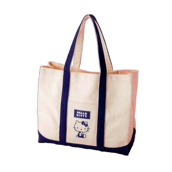 HeLLo Kitty ハローキティ エコエコトートバッグ/鞄 〔ネイビーブルー/紺〕 綿使用 裏面ノープリント【代引不可】