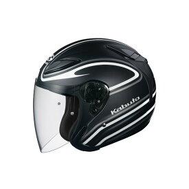 【送料無料】ジェットヘルメット シールド付き AVAND2 STAID フラットブラックホワイト S 〔バイク用品〕【代引不可】