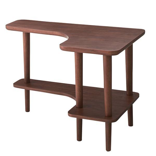 【送料無料】北欧調サイドテーブル/デザインミニテーブル 〔幅80cm ウォールナット〕 木製 棚付き NYT-781WAL【代引不可】
