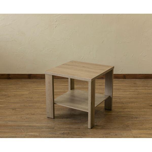 【送料無料】木目調サイドテーブル/ローテーブル 〔正方形 幅50cm×奥行50cm〕 ライトブラウン 収納棚付き 『KENNY』【代引不可】