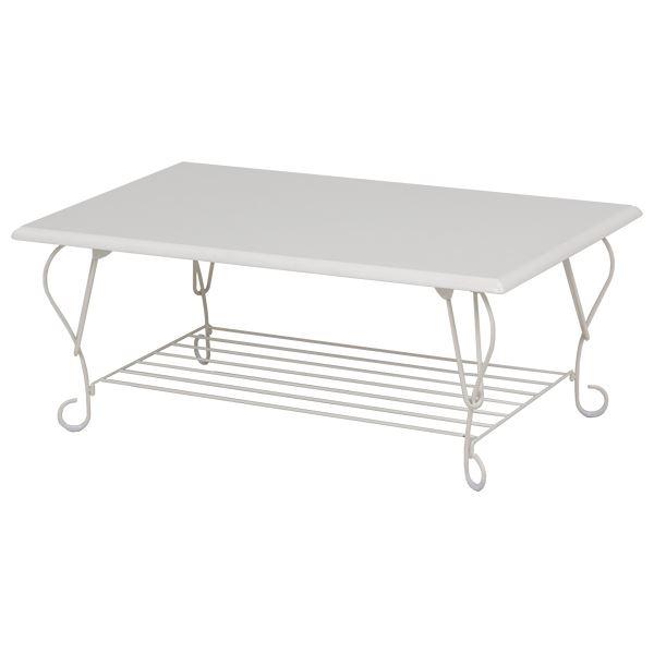 【送料無料】折れ脚テーブル(ローテーブル/折りたたみテーブル) 長方形/ホワイト(白) 幅80cm スチール×木製 収納棚付き アイアンシリーズ【代引不可】