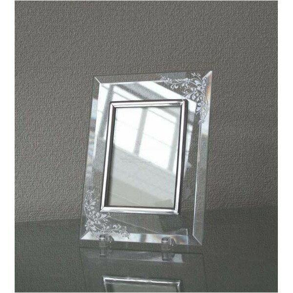 〔彫刻〕〔日本製〕レーザー彫刻クリスタルフォトフレーム/写真立て 〔L版対応〕 127×89mm 【代引不可】