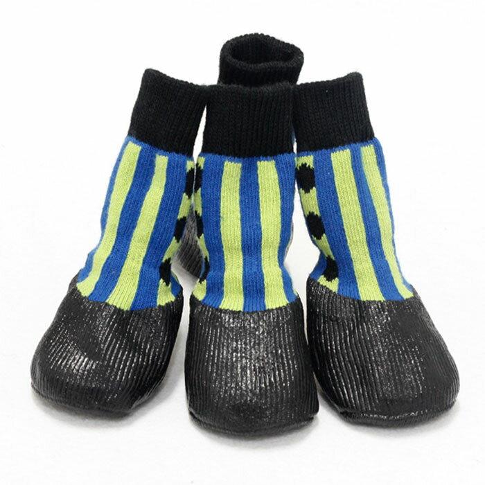 防水シューズ(ストライプ柄)(犬用靴) Mサイズ【代引不可】