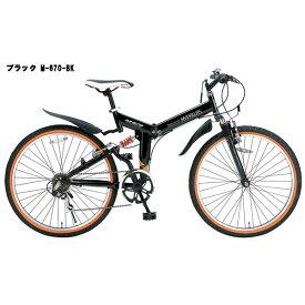 【送料無料】My Pallas(マイパラス) 26インチ 折りたたみマウンテンバイク 6段変速 Wサス ブラック M-670-BK 折りたたみ自転車【代引不可】