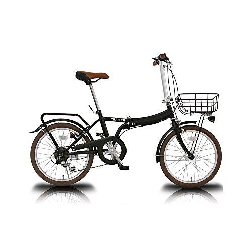 【送料無料】TRAILER(トレイラー) 20インチ 折りたたみ自転車 6段変速 カゴ/カギ/ライト TR-F001-BK ブラック【代引不可】