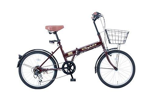 【送料無料】Raychell(レイチェル) 20インチ 折りたたみ 自転車 FB-206R シマノ6段変速 フロントLEDライト付 [メーカー保証1年] ブラウン【代引不可】