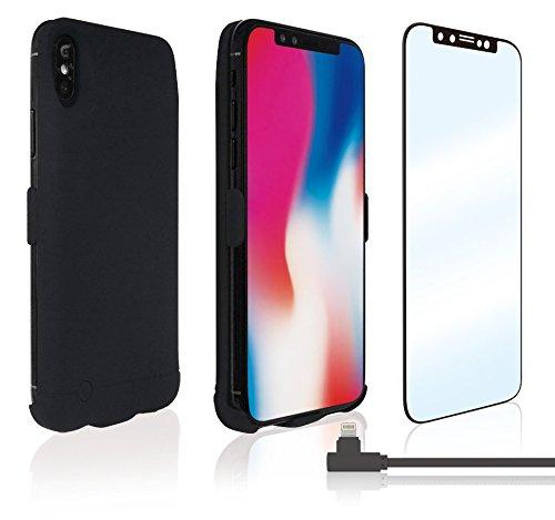 【メール便発送】東亜産業 iPhoneX用 Complete Pack パーフェクト3点セット! 携帯ケース 一体型バッテリー(マットブラック) + 3D GLASS FILM + L型 Lightning ケーブル 6ヶ月保証付 自社製品だから出来るこの価格!【代引不可】