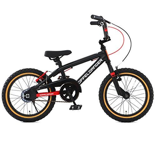 【送料無料】DOPPELGANGER(ドッペルギャンガー) 16インチ子ども用自転車 [付け替えできる補助輪/スタンド付属] 前後V型ブレーキ [適応身長目安:110cm~] ブラック×レッド DXR16-RD ブラック【代引不可】