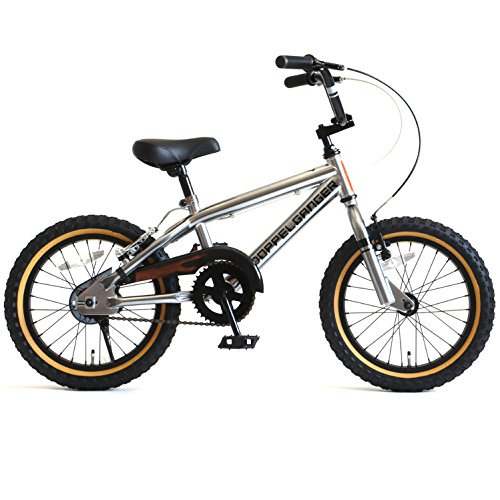 【送料無料】DOPPELGANGER(ドッペルギャンガー) 16インチ子ども用自転車 [付け替えできる補助輪/スタンド付属] 前後V型ブレーキ [適応身長目安:110cm~] シルバー DXR16-GY シルバー【代引不可】