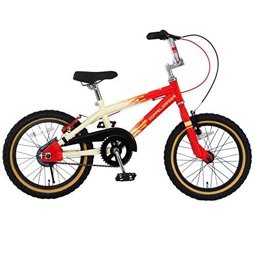 【送料無料】DOPPELGANGER(ドッペルギャンガー) 16インチ子ども用自転車 [付け替えできる補助輪/スタンド付属] 前後V型ブレーキ [適応身長目安:110cm~] ファイヤパターン DXR16-FR ホワイト【代引不可】