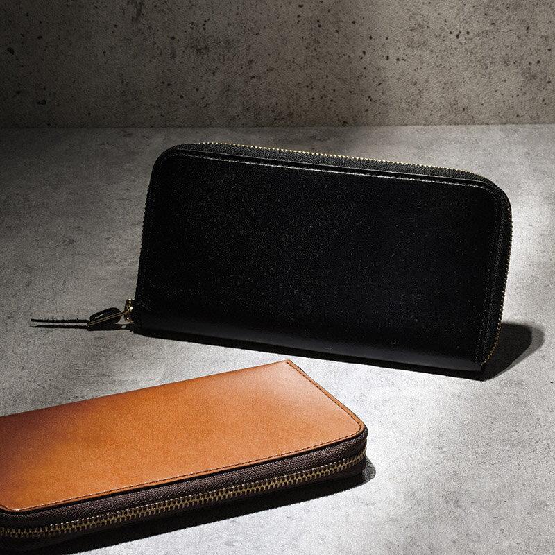 【送料無料】〔ギフト〕手塗りオイルレザーラウンドファスナー長財布 ブラック TA45-01【代引不可】