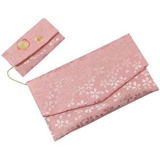 有構架覆蓋物的念珠袋櫻花花紋梅樹刺綉粉紅FIN-669