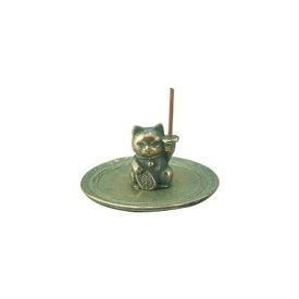 高岡銅器 銅製香立 プチ香 猫 135-08 【代引不可】【北海道・沖縄・離島配送不可】