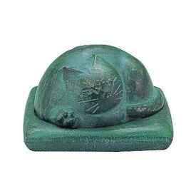 高岡銅器 アルミ製香立 伏せ香炉 猫 136-14 【代引不可】【北海道・沖縄・離島配送不可】