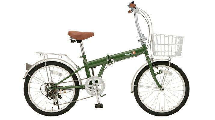 【送料無料】TOP ONE(トップワン) 20インチ 折りたたみ自転車 6段変速 モスグリーン KGK206LL-09-MG【代引不可】