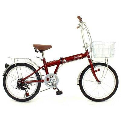 【送料無料】TOP ONE(トップワン) 20インチ 折りたたみ自転車 6段変速 レッド KGK206LL-34-RD【代引不可】