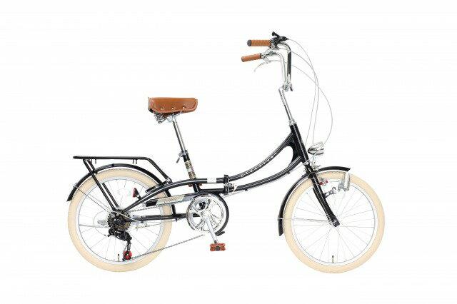 【送料無料】Classical 20インチ 折りたたみ自転車 シマノ 外装6段変速 砲弾型ダイナモライト・荷台・カギ付き ブラック FLM206-76-BK【代引不可】