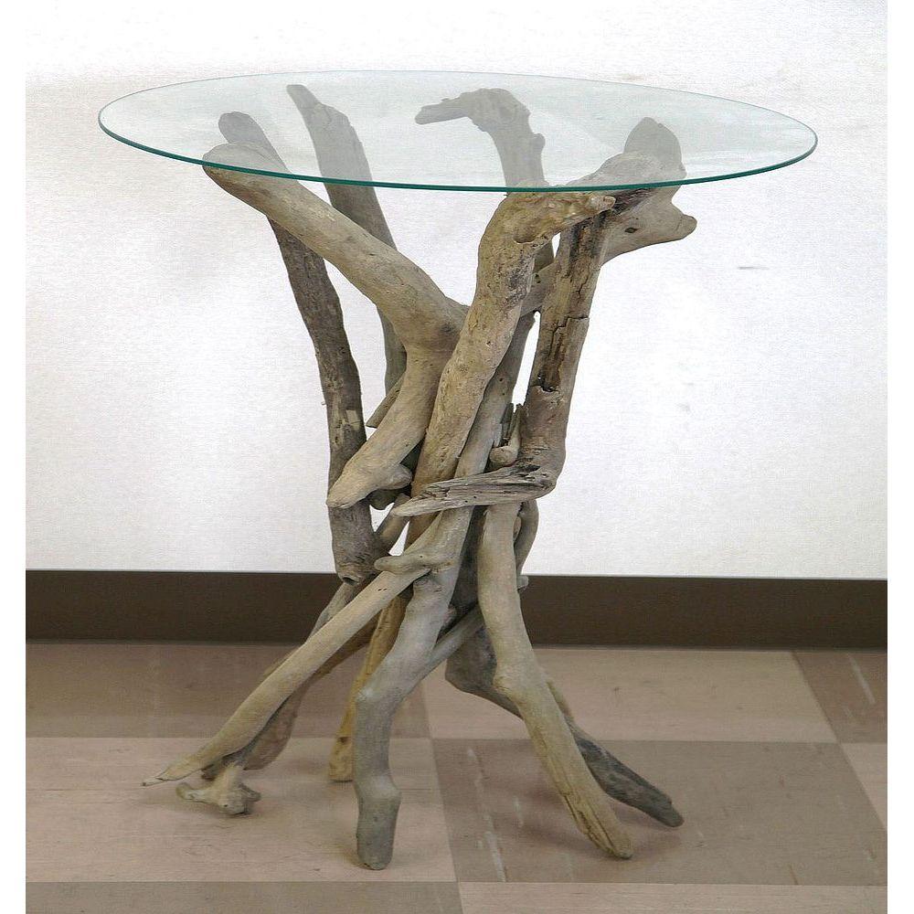 【送料無料】ジャービス商事 流木 ルートガラステーブル M 99999AD02 リビングテーブル ダイニングテーブル【代引不可】