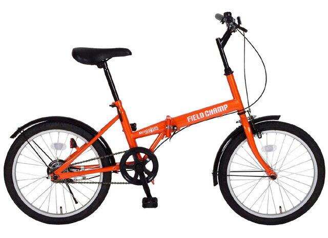 【送料無料】FIELD CHAMP(フィールドチャンプ) 20インチ 折りたたみ自転車 変速無し FDB20 オレンジ MG-FCP20【代引不可】