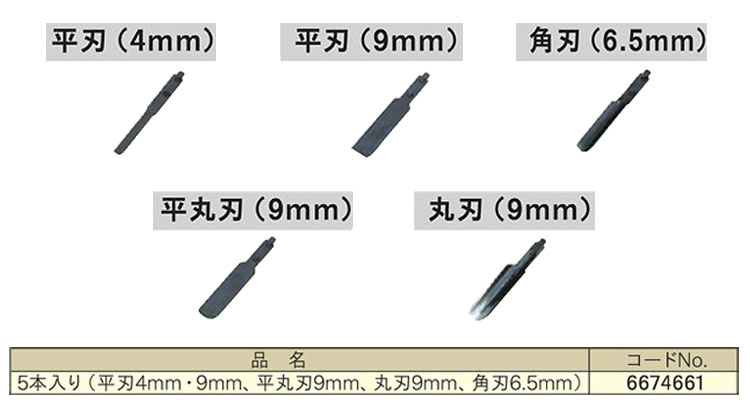 リョービ 5本入替刃セット (平刃4ミリ・9ミリ平丸刃9ミリ丸刃9ミリ角刃6.5ミリ)