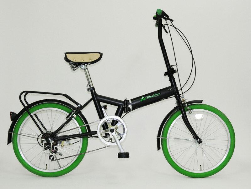 【送料無料】Rhythm(リズム) 20インチ 折りたたみ自転車 6段変速 グリーン FD1B-206 GR リング錠付【代引不可】