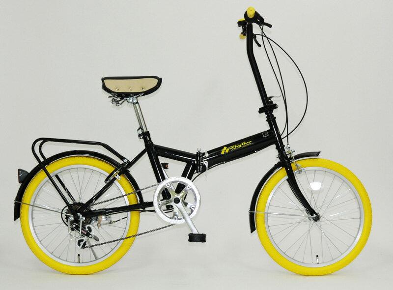 【送料無料】Rhythm(リズム) 20インチ 折りたたみ自転車 6段変速 リング錠付 FD1B-206 YE(イエロー)【代引不可】