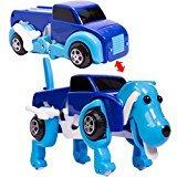 変形ドライブカー 犬 ブルー 走っている途中に車が犬に変形するおもちゃ【あす楽対応】