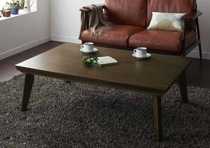 【送料無料】オールドウッド ヴィンテージデザインこたつテーブル〔WYTHE〕ワイス 長方形(120×80) ヴィンテージブラウン【代引不可】