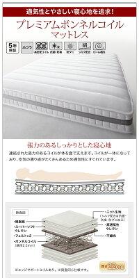 【送料無料】スリム棚・多コンセント付き収納ベッド〔Splend〕スプレンド〔ボンネルコイルマットレス:ハード付き〕ダブル〔フレーム色〕ホワイト【代引不可】