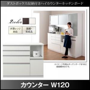 【送料無料】ダストボックス収納付きハイカウンターキッチン収納シリーズ 〔Pranzo〕プランゾ 〔カウンター単品〕 W120 ホワイト【代引不可】