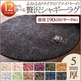 【送料無料】12色×6サイズから選べる すべてミックスカラー ふかふかマイクロファイバーの贅沢シャギーラグ 直径190cm(サークル) ワインレッド【代引不可】