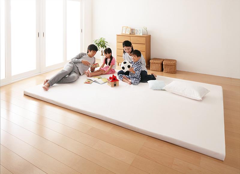 【送料無料】日本製 ソファになるから収納いらず 3サイズから選べる家族で寝られるファミリーマットレス ワイドK280 ブラウン【代引不可】