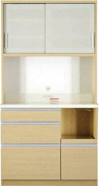 【送料無料】大型レンジ対応清潔感のある印象が特徴のキッチン収納シリーズEthicaエチカキッチンボード幅100高さ193ブラウン【代引不可】