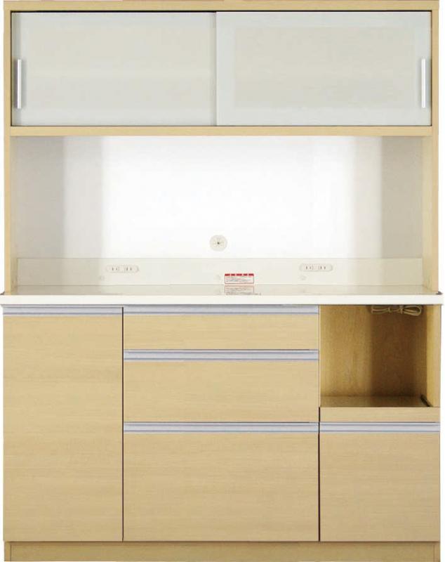 【送料無料】大型レンジ対応 清潔感のある印象が特徴のキッチン収納シリーズ Ethica エチカ キッチンボード 幅140 高さ178 ブラウン【代引不可】