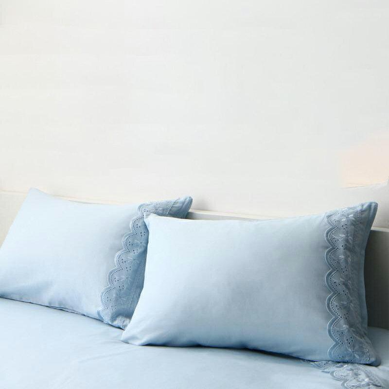 【送料無料】レースデザインフリルカバーリング 〔meno〕メノ 枕カバー単品 1枚 ブルー【代引不可】
