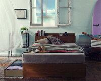 【送料無料】棚・コンセント付き収納ベッド〔Arcadia〕アーケディアすのこ仕様〔マルチラススーパースプリングマットレス付き〕ダブル〔フレーム色〕ウォルナットブラウン【代引不可】